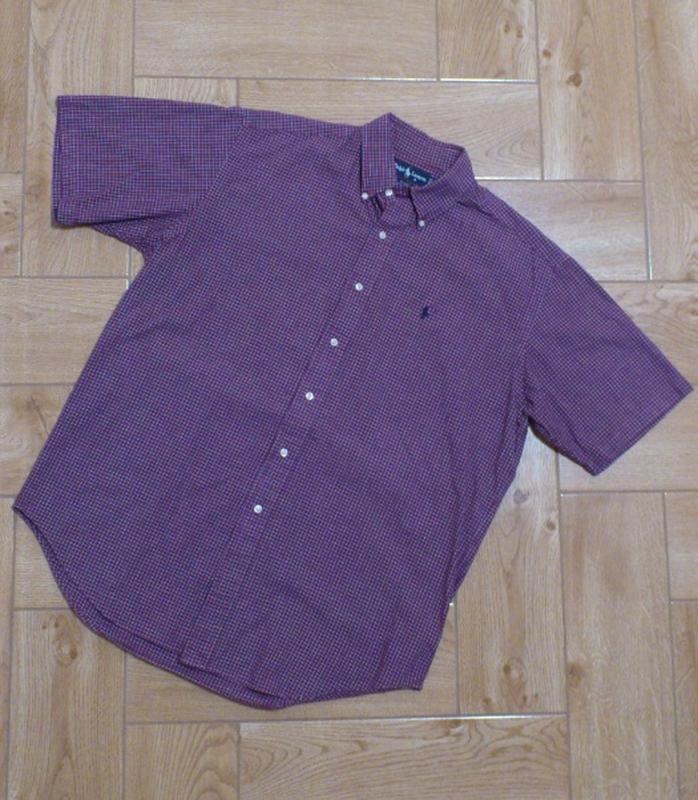 Рубашка мужская в мелкую клетку с коротким рукавом сорочка чол...