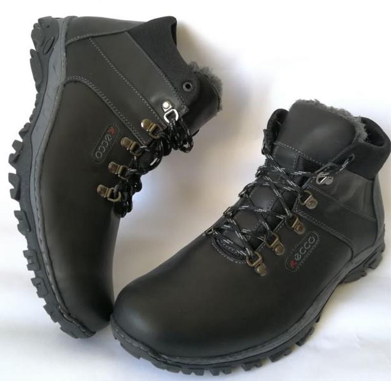 Ecco зимние удобные ботинки большого размера натуральная кожа бат