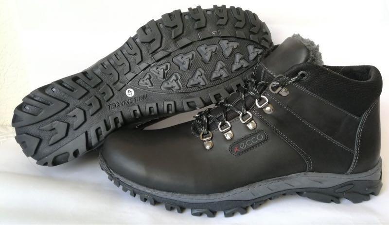 Ecco зимние удобные ботинки большого размера натуральная кожа бат - Фото 4