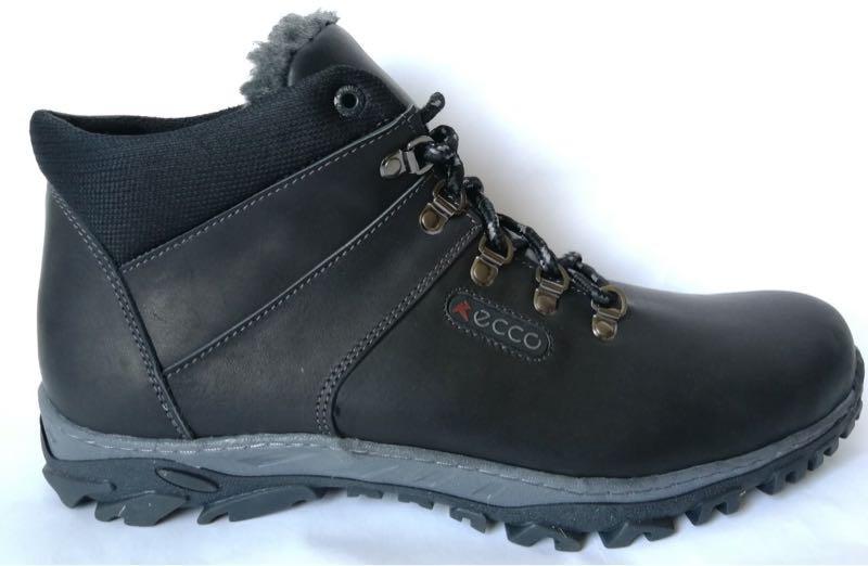 Ecco зимние удобные ботинки большого размера натуральная кожа бат - Фото 6