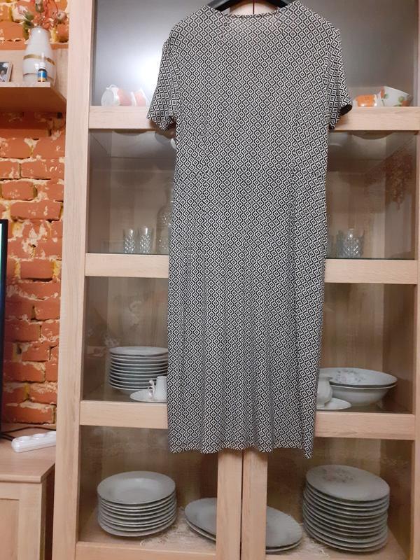 Очень стильное вискозное с карманами платье большого размера - Фото 2