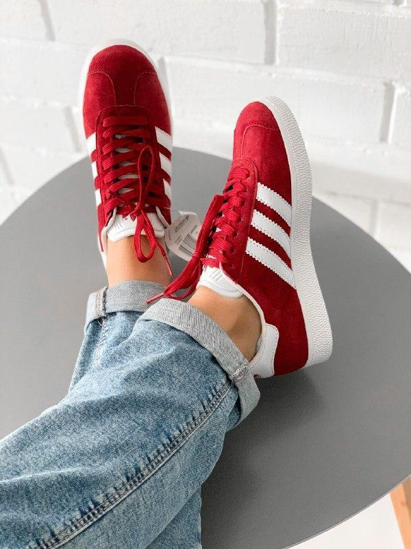 Кроссовки adidas gazelle bordo кеды адидас бордовые - Фото 9