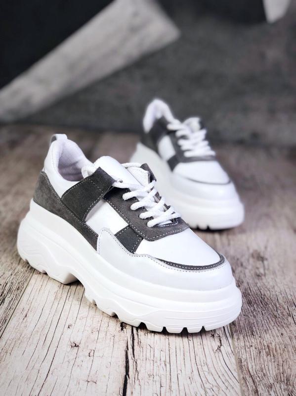 Кожаные замшевые кроссовки на модной подошве. 36-40