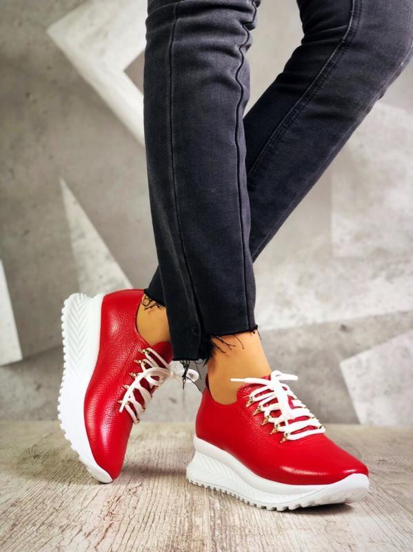 Кожаные кроссовки кеды на высокой подошве. 36-40
