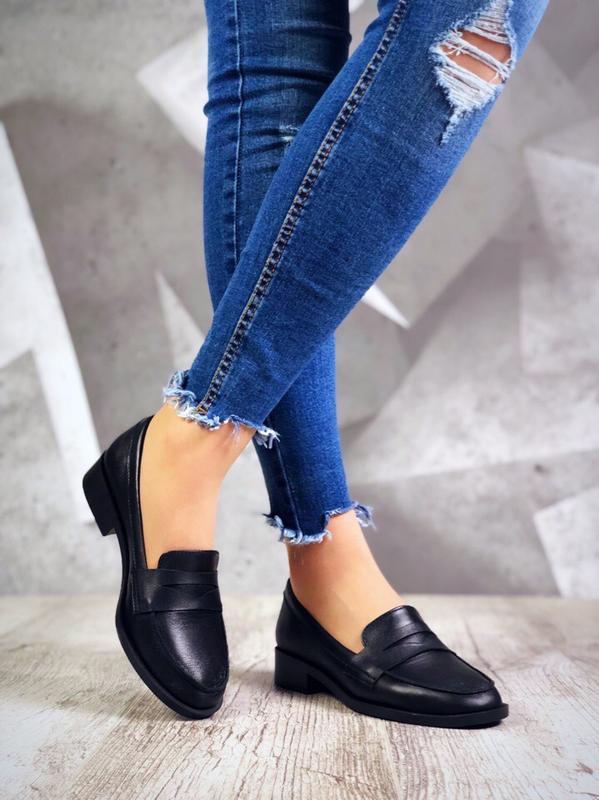 Кожаные туфли лоферы балетки в классическом стиле