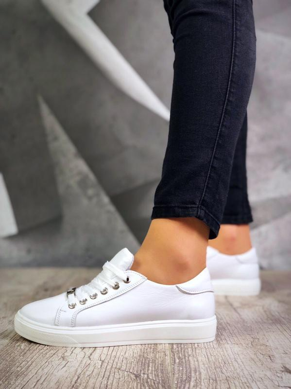 Кожаные кроссовки кеды в стиле philipp plein