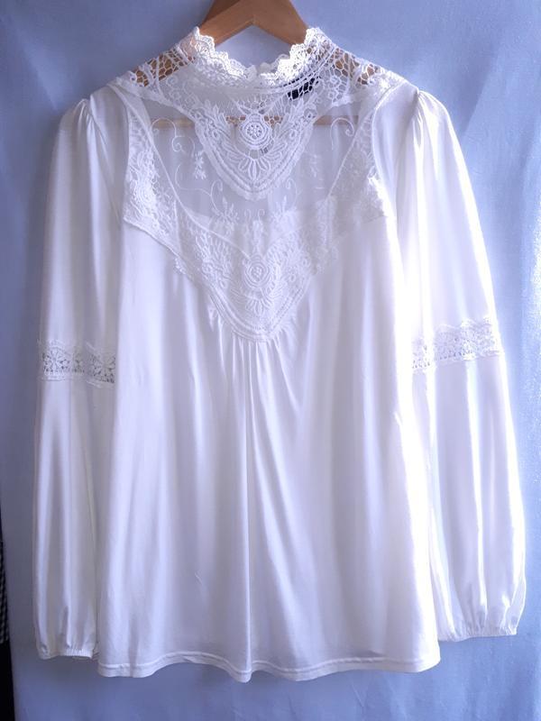 Шикарная нарядная блузка с кружевом раз.l-xl