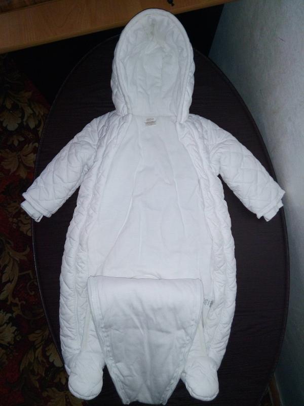 Комбинезон белоснежный зимний мальчику/девочке на 6-9 мес. (74... - Фото 3