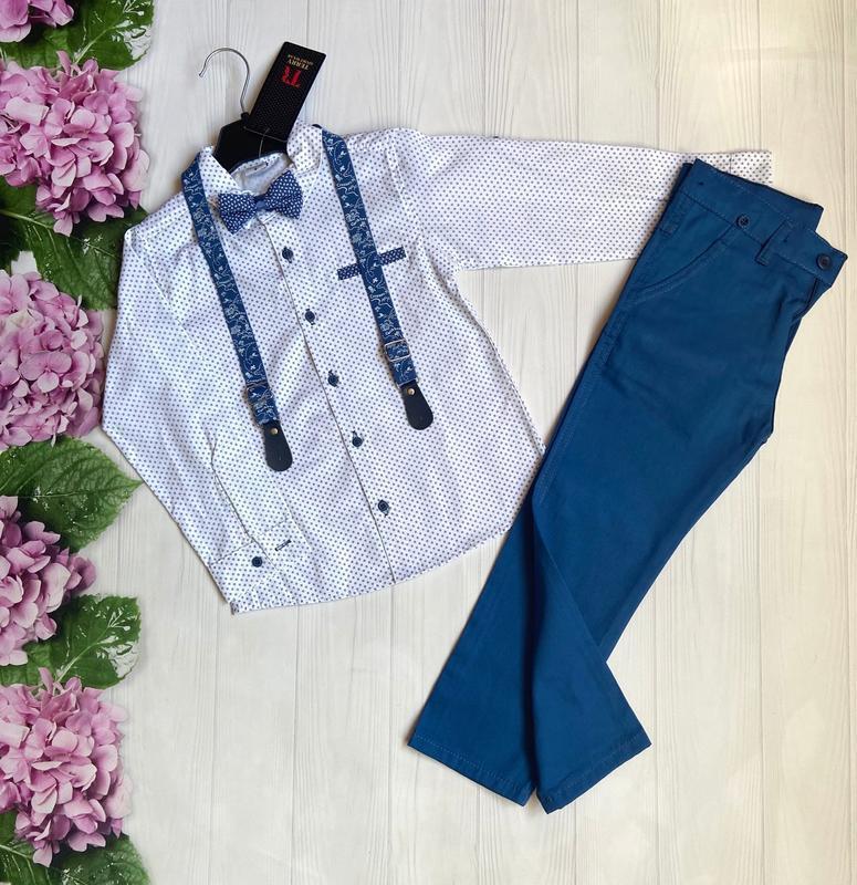 Нарядный костюм для мальчика, классика, рубашка, брюки, бабочк...