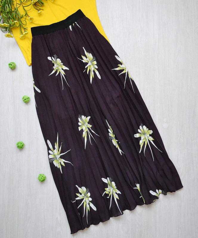 Роскошная длинная юбка плиссе в цветы h&m