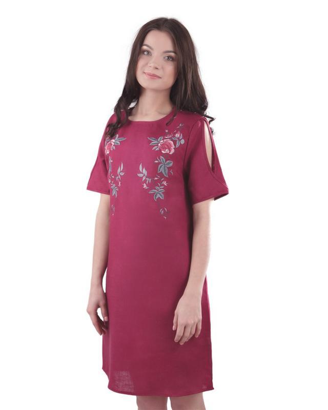 Летнее платье с вышивкой Вышиванка Лен