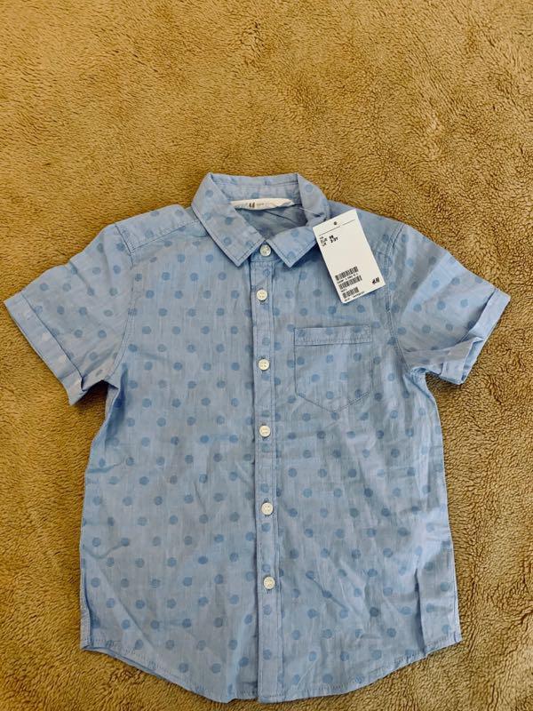 Хлопковая рубашка, с коротким рукавом, летняя на мальчика h&m