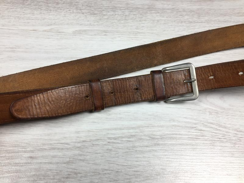 Длиный узкий мужской кожаный ремень италия - Фото 2