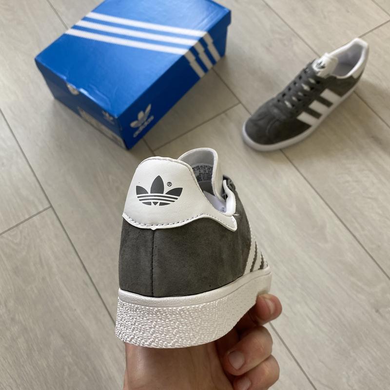 Adidas gazelle gray женские стильные кроссовки - Фото 7
