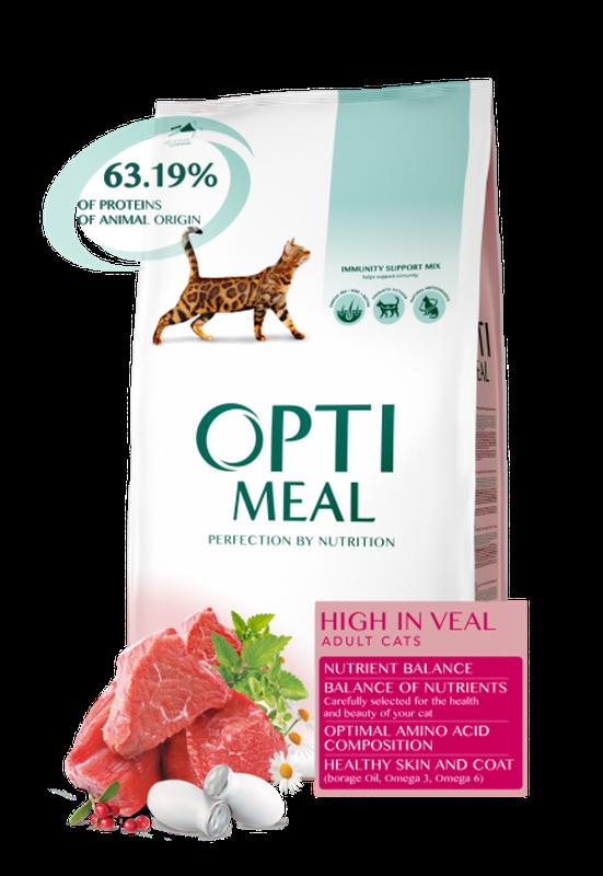 OptiMeal (Оптимил) корм для кошек с курицей , говядиной 10кг. - Фото 2