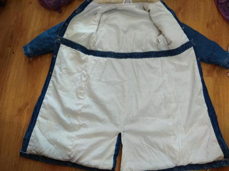 Стильное джинсовое пальто 134 размер - Фото 3