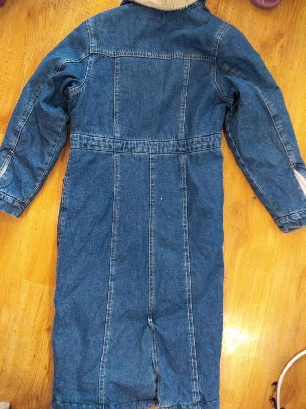 Стильное джинсовое пальто 134 размер - Фото 4