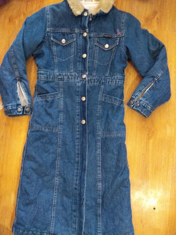 Стильное джинсовое пальто 134 размер - Фото 5