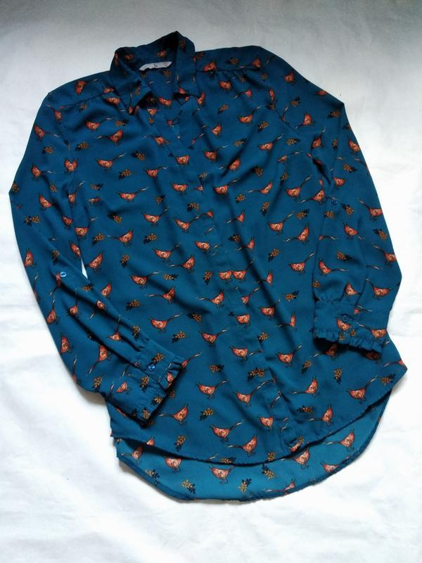 Стильная блузка рубашка с птицами
