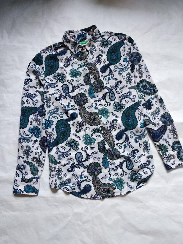 Хлопковая блузка рубашка в огурцы