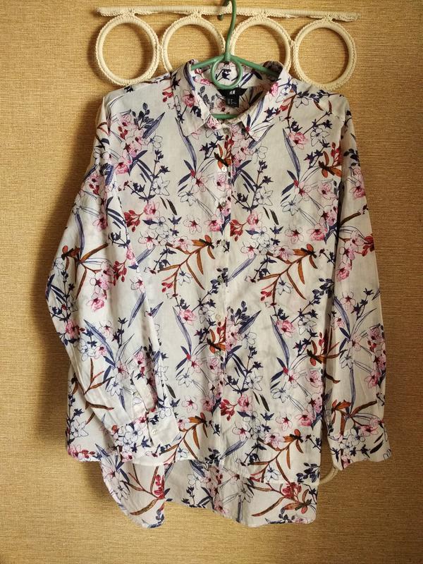 Легкая хлопковая блузка рубашка в цветы