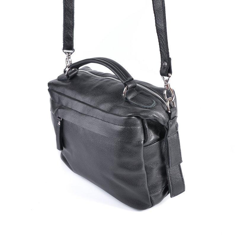 Черная молодежная кожаная сумка через плечо - Фото 2