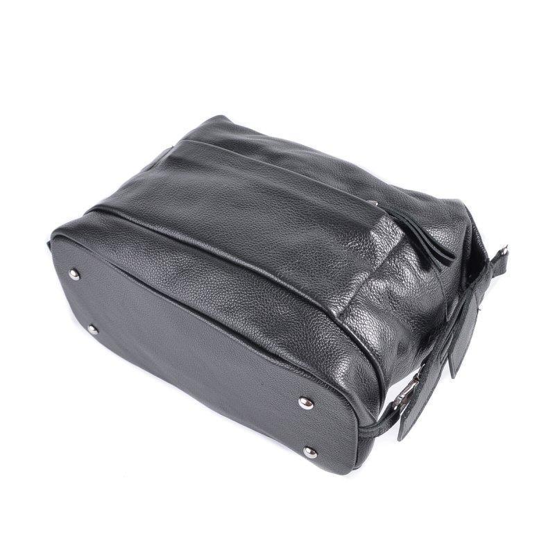 Черная молодежная кожаная сумка через плечо - Фото 3