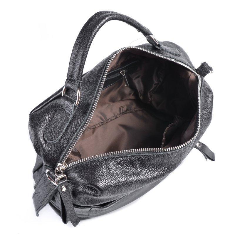 Черная молодежная кожаная сумка через плечо - Фото 4