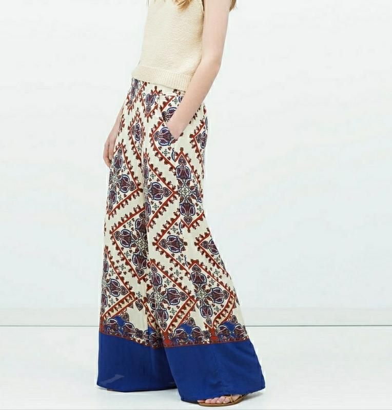 Широкие штаны брюки кюлоты с принтом zara