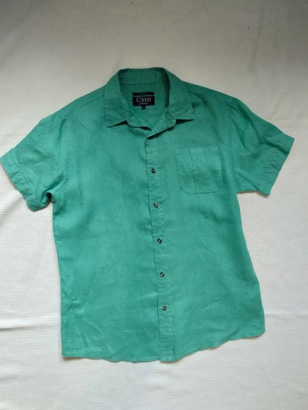 Стильная летняя мужская рубашка тениска из льна