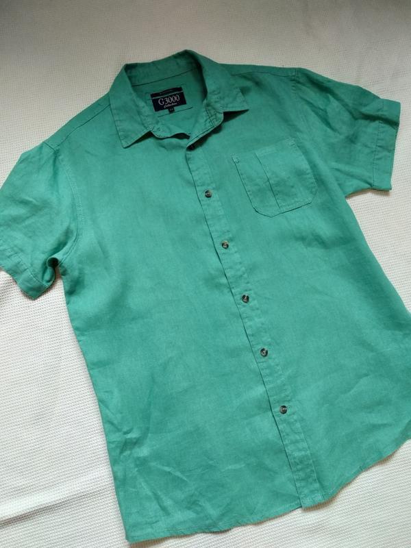 Стильная летняя мужская рубашка тениска из льна - Фото 2