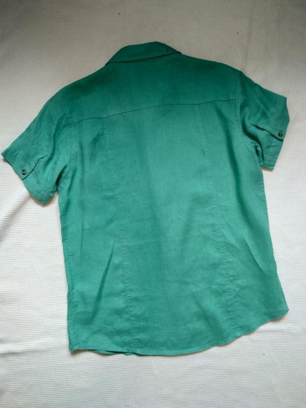 Стильная летняя мужская рубашка тениска из льна - Фото 4