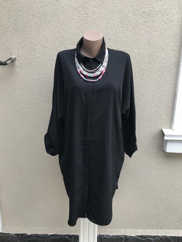 Чёрная блузка,туника,рубашка удлинённая с карманами по боку,бо...