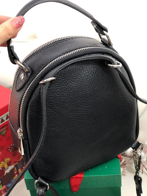 Кожаный рюкзак сумка италия кроссбоди - Фото 2