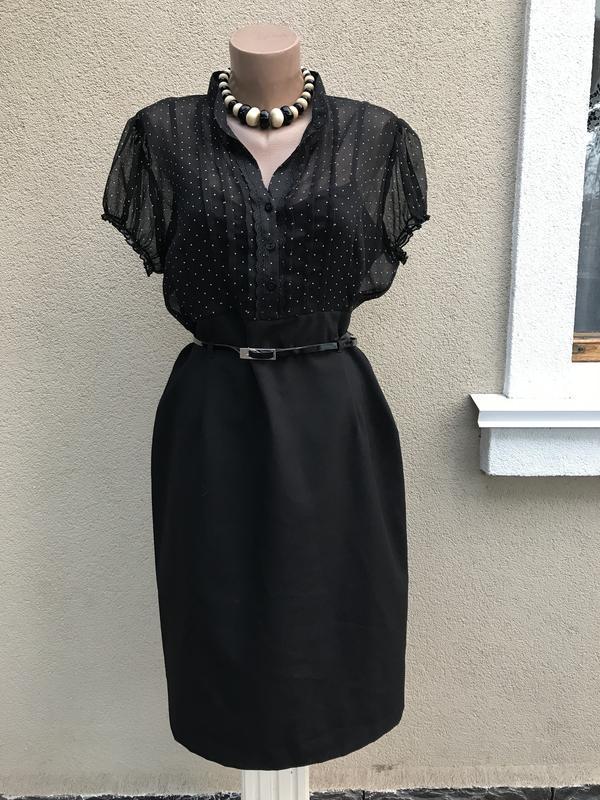 Красивое,комбинированное платье в горохи,офисное,большой размер