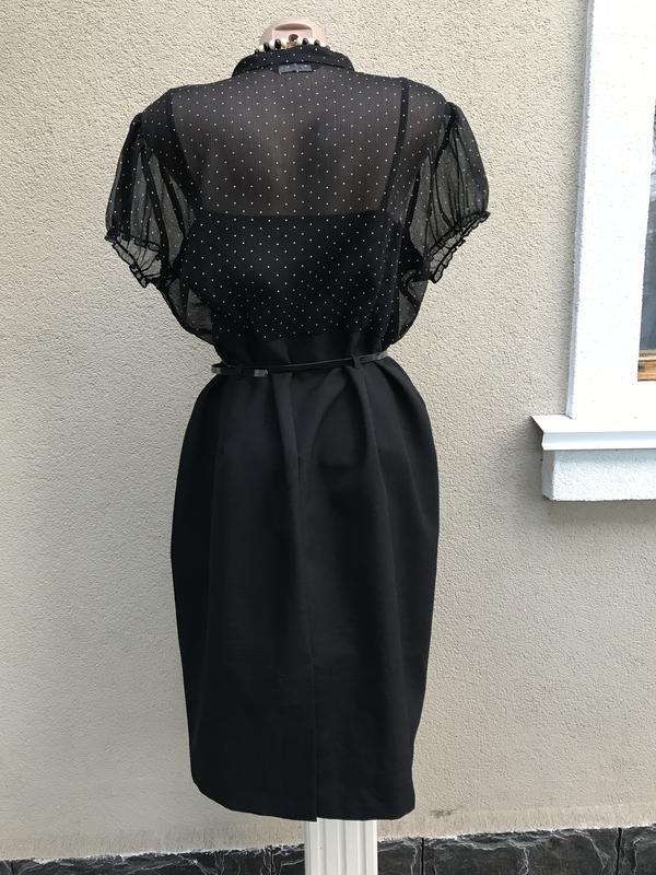 Красивое,комбинированное платье в горохи,офисное,большой размер - Фото 4