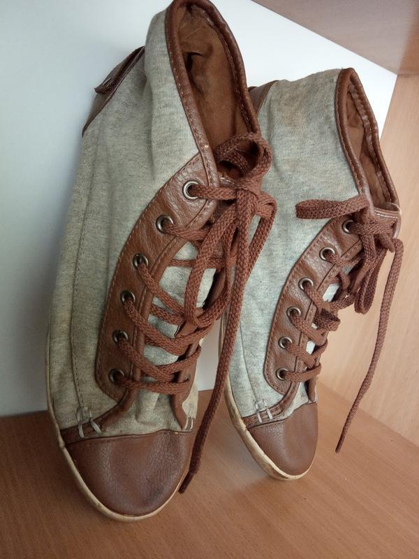 Стильные, текстильные, завышенные кеды, кроссовки. размер 40.