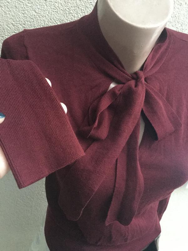 Тонкая,трикотаж кофта с бантом по груди,свитер,джемпер,марсала... - Фото 3