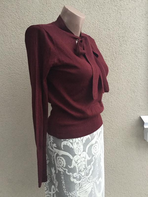 Тонкая,трикотаж кофта с бантом по груди,свитер,джемпер,марсала... - Фото 5