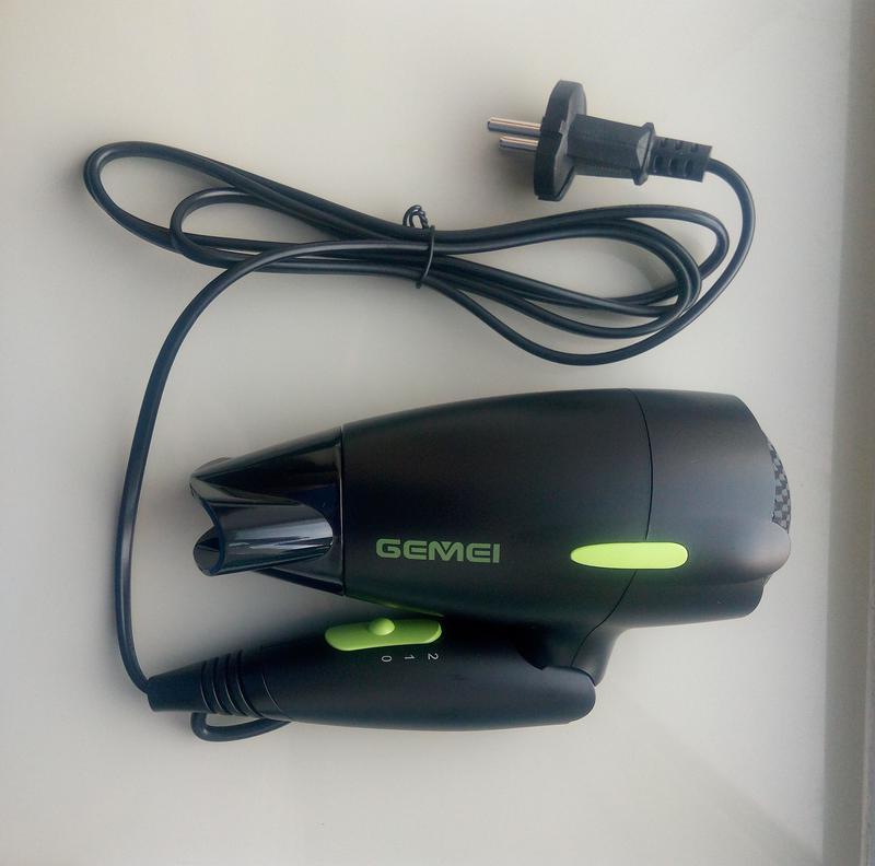 Универсальный фен gemei gm-128 складной фен. дорожный фен - Фото 7