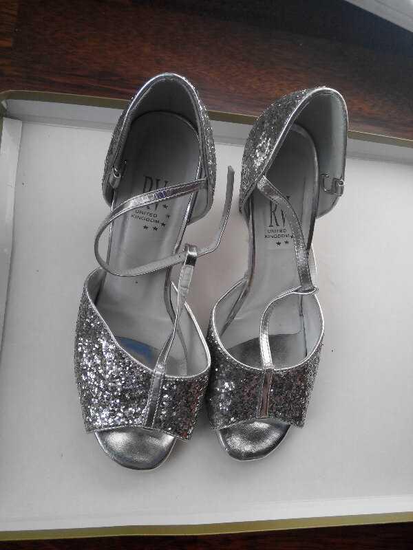 Туфли для бальных танцев серебристые размер 36,5 стелька 23,7 см