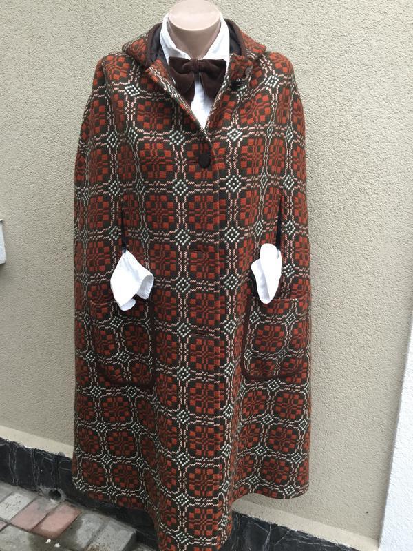 Винтаж,шерстяной кейп с капюшоном,пальто,пончо,накидка,тренч,э...