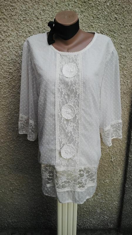 Кружевная(ажурная,гипюровая) блузка,туника под пояс,на подклад...