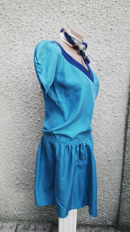 Шелковое,легкое платье(без подкладки) ретро стиль, с застежкой... - Фото 3