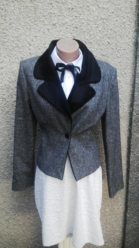 Шерстяной жакет,пиджак с меховым воротником,италия,указан 16р,...