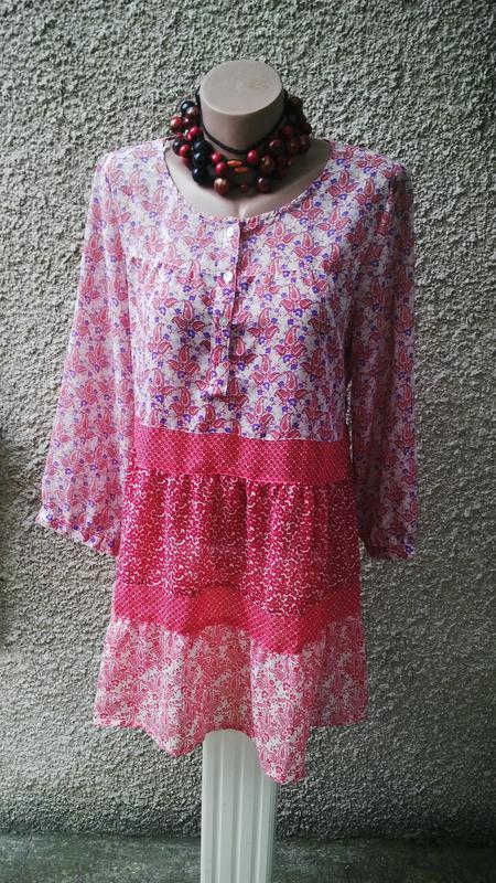 Шифоновая блуза,туника,платье в этно,бохо стиле ,свободного кр...