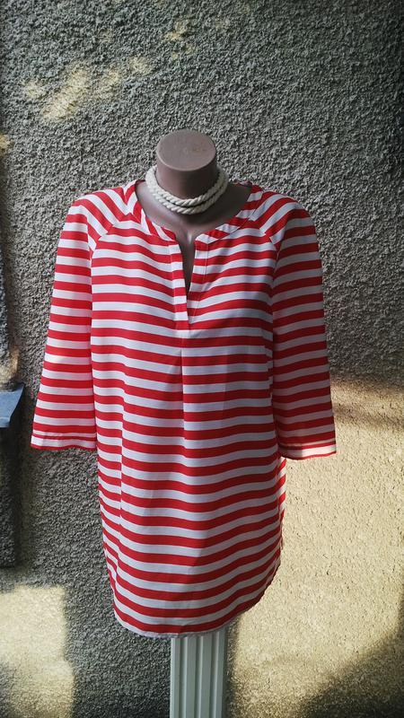 Удлиненная блуза,рубаха,туника в красно-белую полоску,большого...