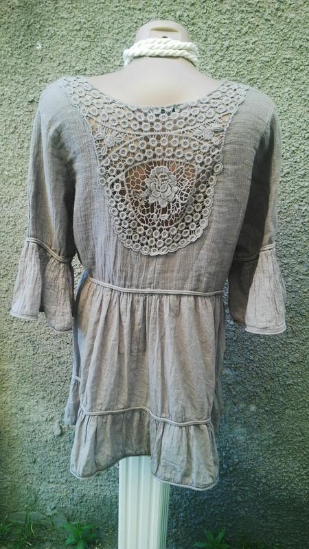 Красивая льняная блуза с воланами на рукавах,туника с кружевом...