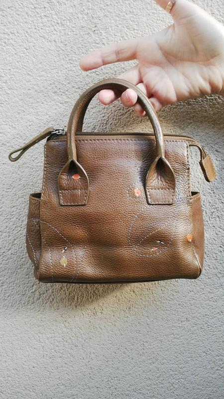 Красивая,кожаная маленькая сумочка,косметичка с апликацией,rad...