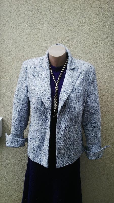 Серый буклированный с серебристой нитью жакет,пиджак ,большой ...